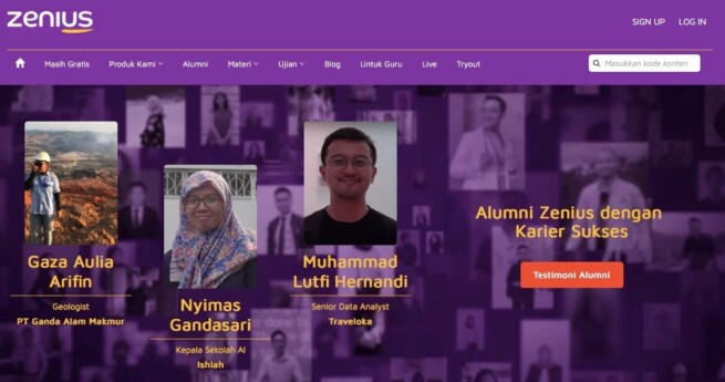 Aplikasi belajar online zenius