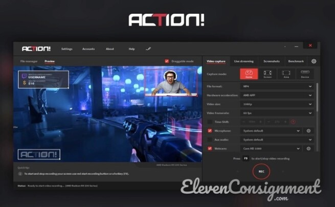 Aplikasi perekam layar pc Action